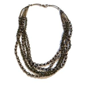 """Jewelry - NECKLACE GRAY SILVER CRYSTALS BEADS 5 STRAND 20"""""""